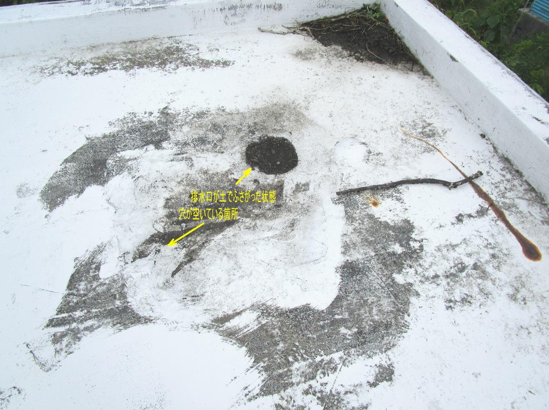 排水口が塞がれ、防水塗装の穴から雨水が浸入
